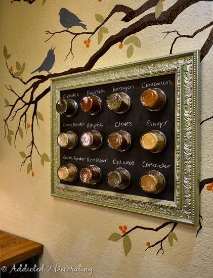Framed Magnetic Chalkboard Spice Rack